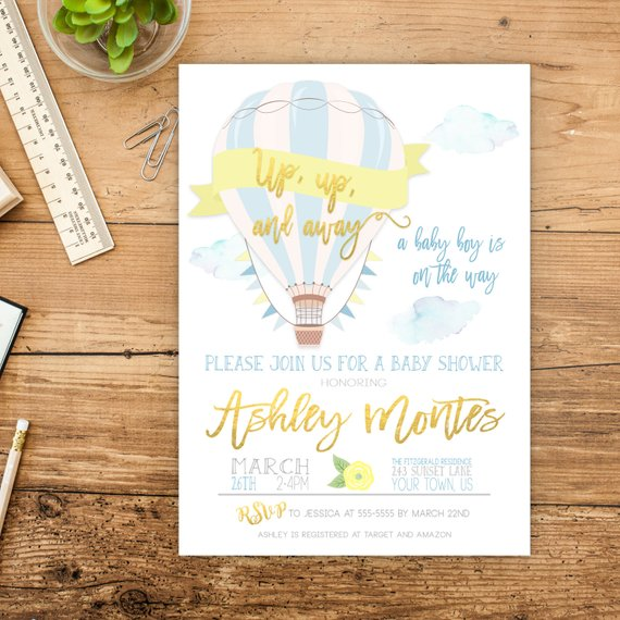 Hot Air Balloon Baby Shower Invitation | CatchMyParty.com