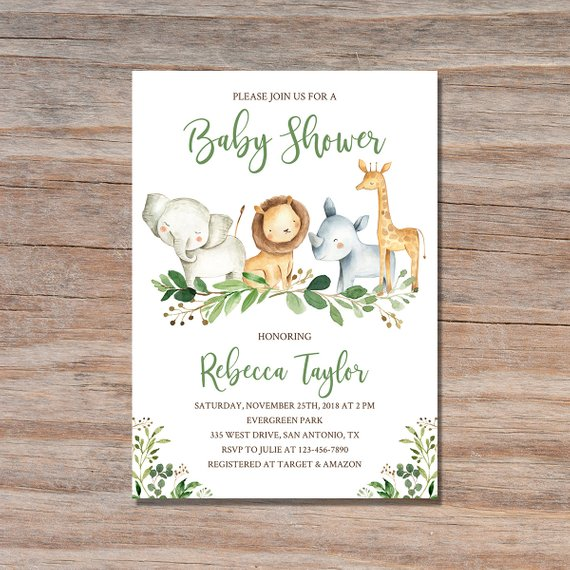 Jungle Animal Baby Shower Invitation | CatchMyParty.com