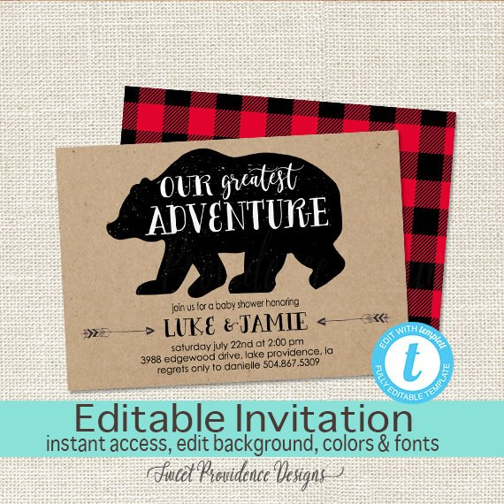 Lumberjack Baby Shower Invitation | CatchMyParty.com