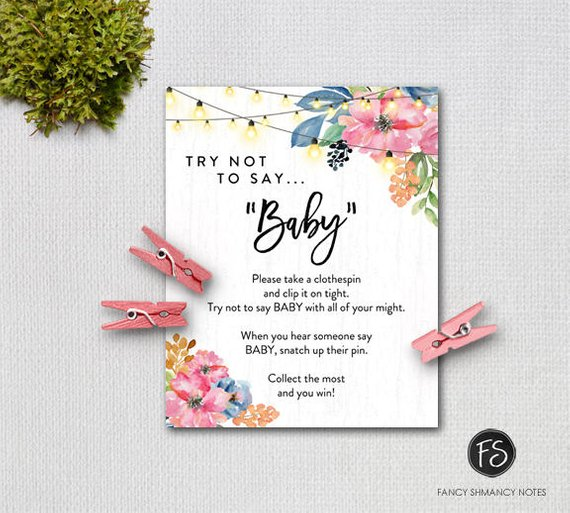Baby shower party game supplies - Don't Say Baby | CatchMyParty.com