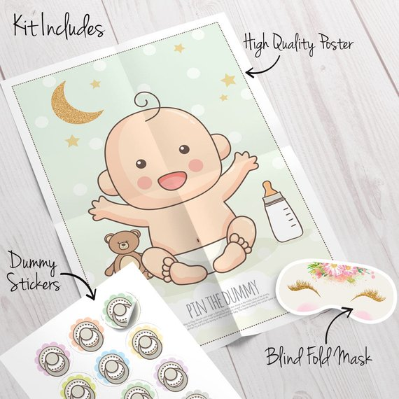 Baby shower party game supplies - Pin the Dummy | CatchMyParty.com