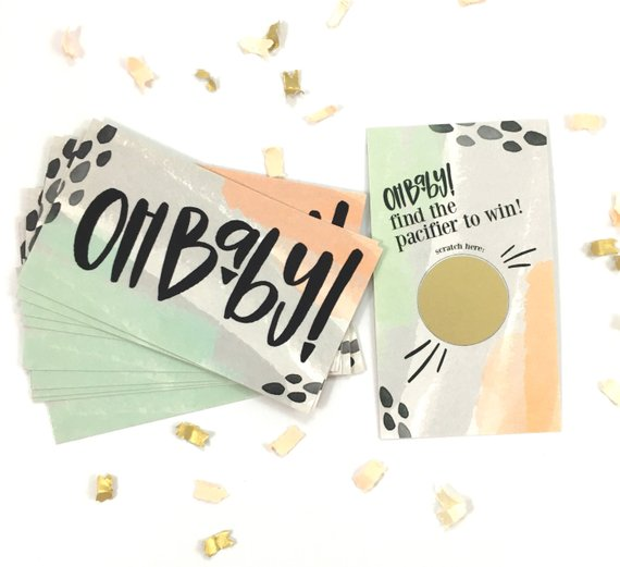Baby shower party game supplies - Scratch Off Cards | CatchMyParty.com