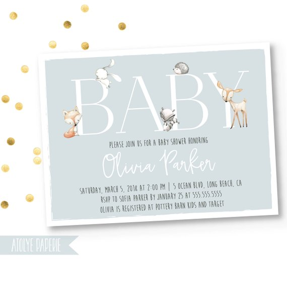 Woodland Baby Shower Invitation | CatchMyParty.com