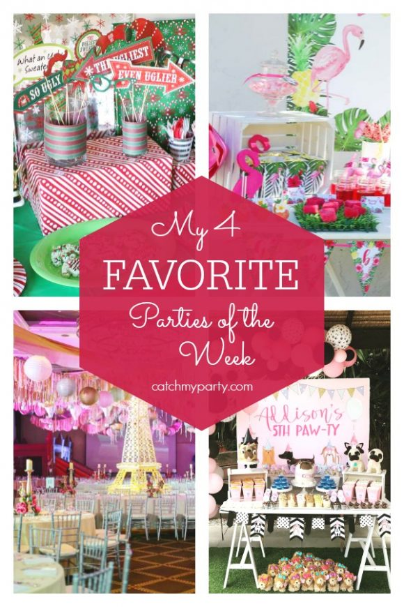 Our favorite parties this week include an ugly sweater holiday party, an adopt a pet birthday party, a flamingo birthday party, and a Parisian themed birthday party | CatchMyParty.com
