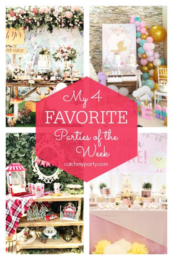 My favorite parties this week include this magical enchanted forest birthday party , a wonderful unicorn birthday party, a beautiful rustic Chrismas party, and a adorable litttle chick 1st birthday party | CatchMyParty.com