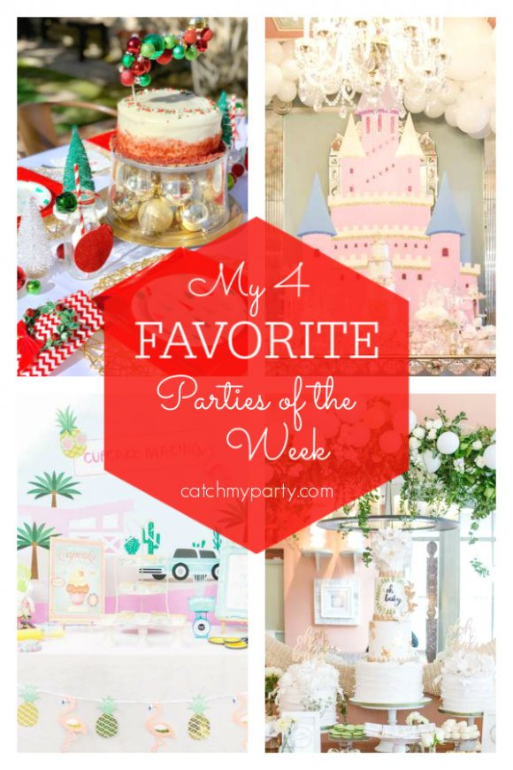 Our favorite parties this week include a kids Christmas party, a vintage princess birthday party, a tropical flamingo birthday party, and a rustic baby shower.