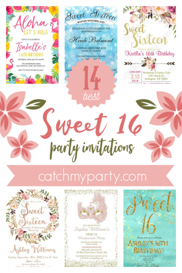 The 12 Most Glamorous Sweet 16 Party Invitations | CatchMyParty.com