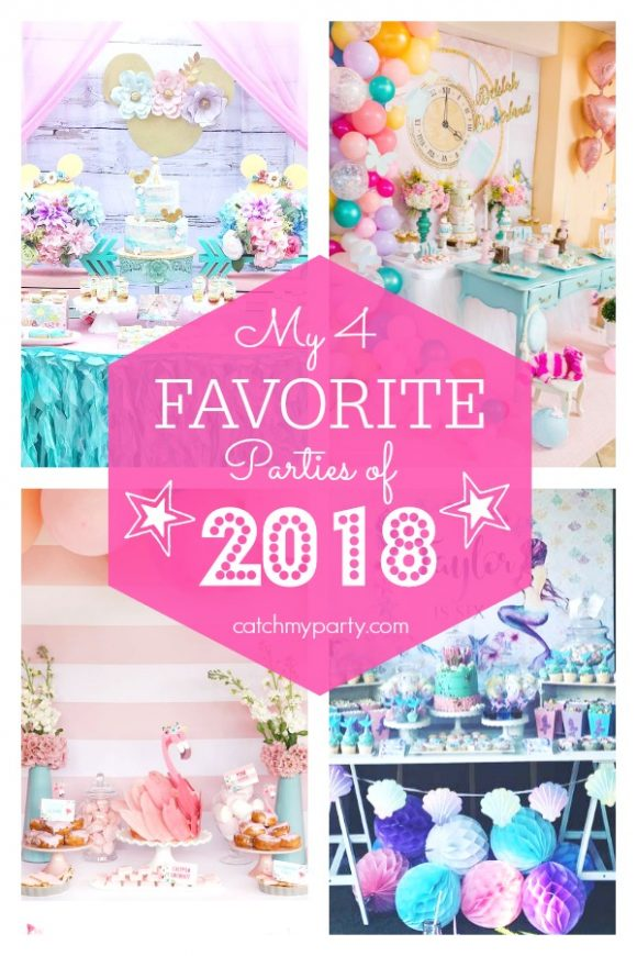 My 4 favorite parties of 2018 include a boho Minnie Mouse 1st birthday party, an Alice in Wonderland birthday party, a flamingo birthday party, and a mermaid birthday party | CatchMyParty.com