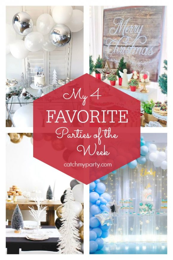 My favorite parties this week include many winter parties such as a white Christmas eve party, a Christmas party, a modern Narwhal winter wonderland party, and a unicorn birthday party | CatchMyParty.com | CatchMyParty.com