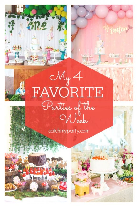 My favorite parties this week include a Peter Rabbit birthday party, a mermaid birthday party, a woodland fairy birthday party, and a princess pajama birthday party | CatchMyParty.com