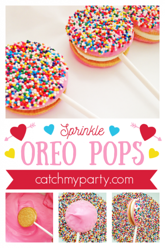 Make these Quick and Easy Sprinkle Oreo Pops!! CatchMyParty.com