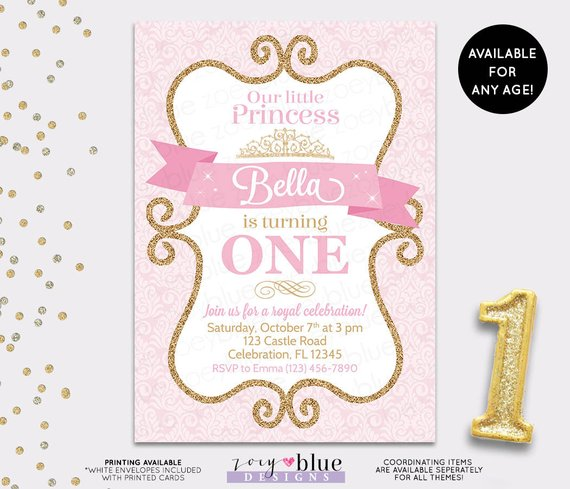 Vintage Pink Princess 1st Birthday Party Invitation
