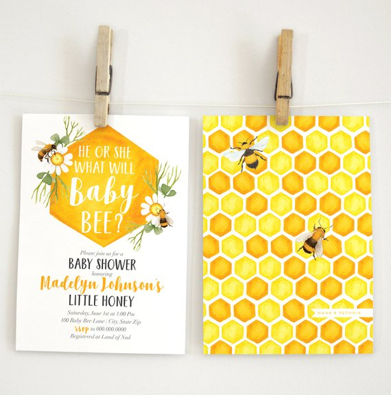 Gender Neutral Bumble Bee Baby Shower Invitation | CatchMyParty.com