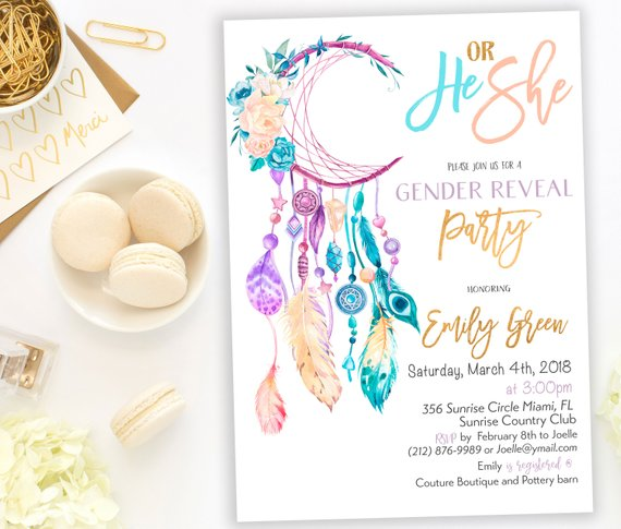 Gender Neutral Boho Chic Baby Shower Invitation | CatchMyParty.com