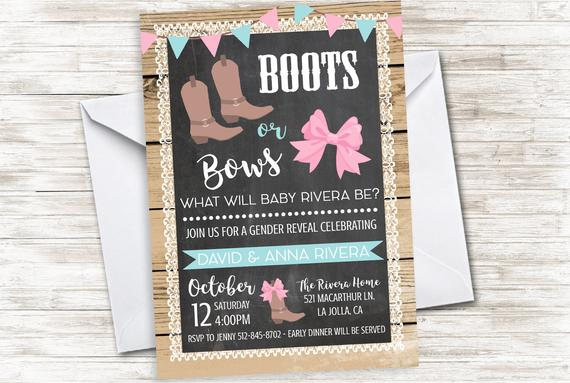 Boots or Bows Gender Reveal Baby Shower Invitation | CatchMyParty.com