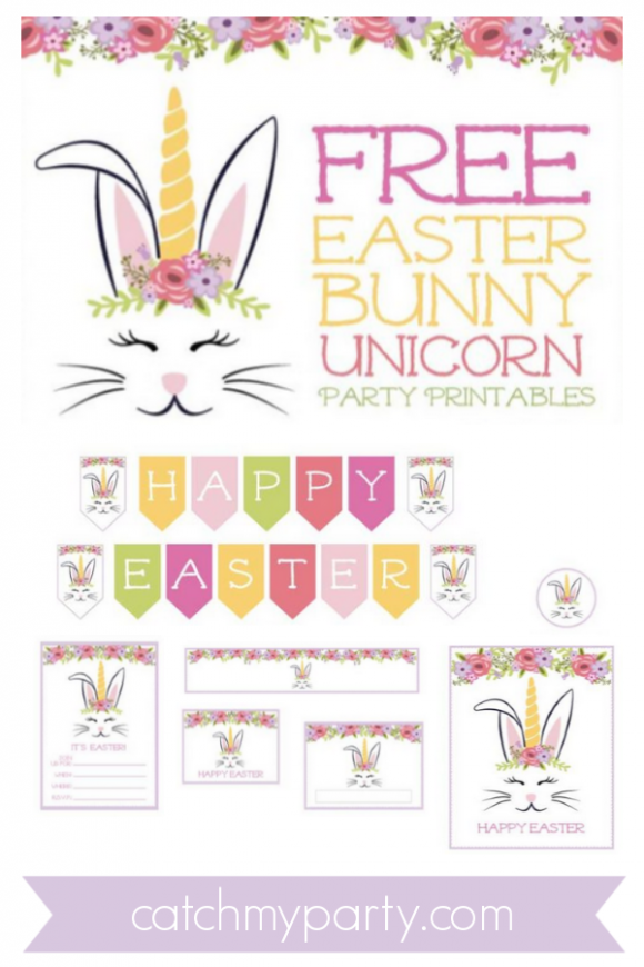 Download These FREE Easter Bunny Unicorn Printables Now! | CatchMyParty.com