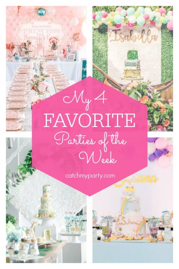 My favorite parties this week include a princess party , a Moana 1st birthday party, a modern safari baby shower, and a unicorn 1st birthday party | CatchMyParty.com