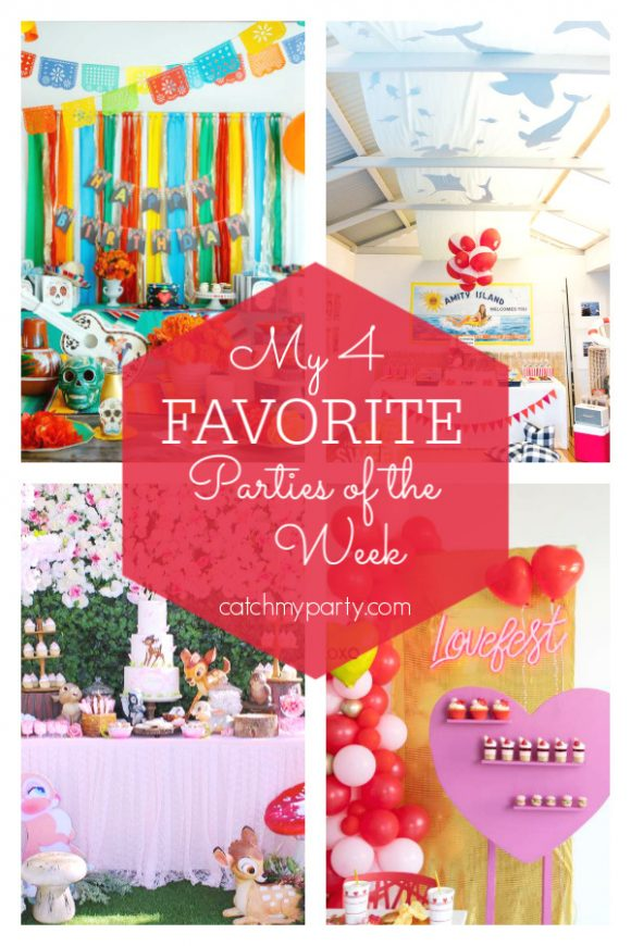 My favorite parties this week include a Coco birthday party , a Jaws inspired 1st birthday party, a Bambi themed 1st birthday party, and a Valentine's day party | CatchMyParty.com