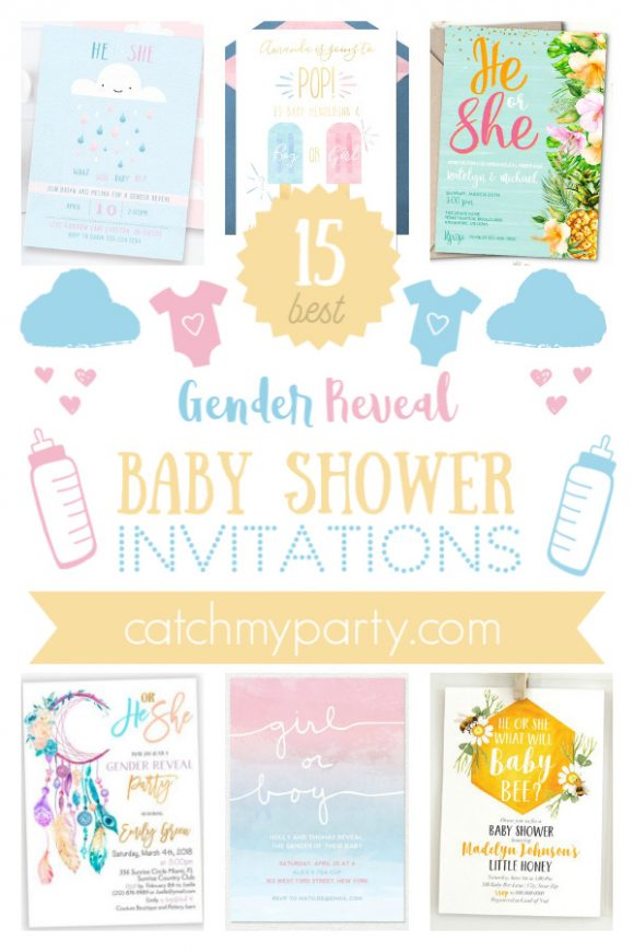 The Most Adorable 15 Gender Reveal Baby Shower Invitations | CatchMyParty.com