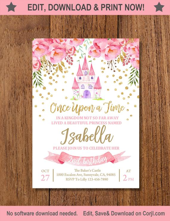 Floral Princess Party Invitation with an illustrated castle