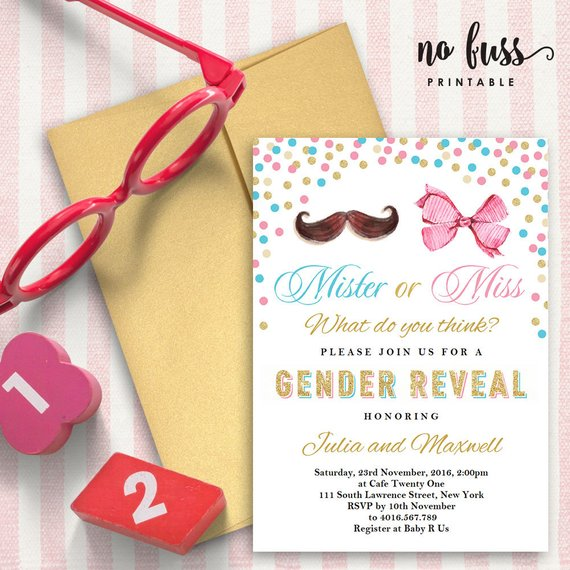Gender Reveal Mister or Miss Baby Shower Invitation | CatchMyParty.com