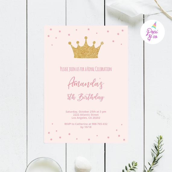 Pink Princess Party Invitation with a gold sparkly crown