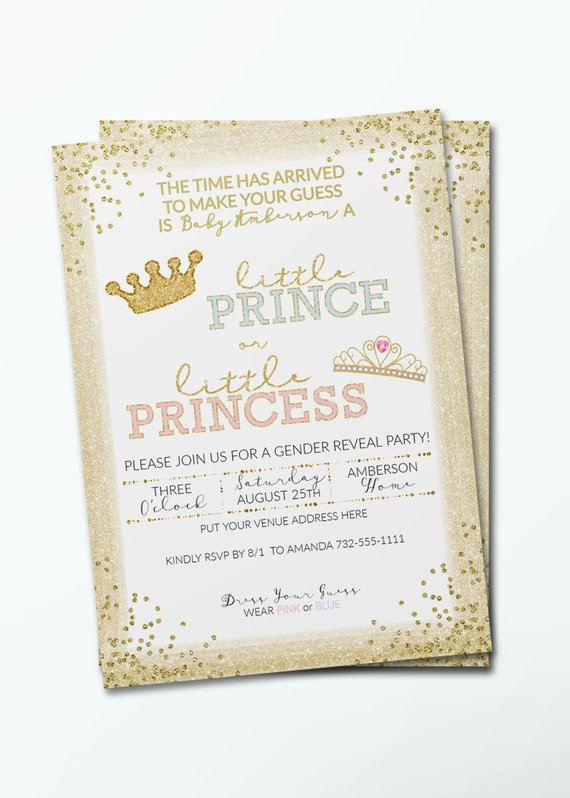 Gender Reveal Prince or Princess Baby Shower Invitation | CatchMyParty.com