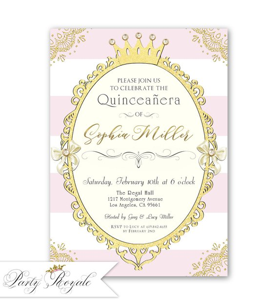 Vintage Quinceanera Princess Party Invitation