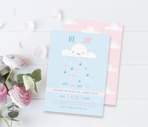 Raindrop Gender Reveal Baby Shower Invitation | CatchMyParty.com