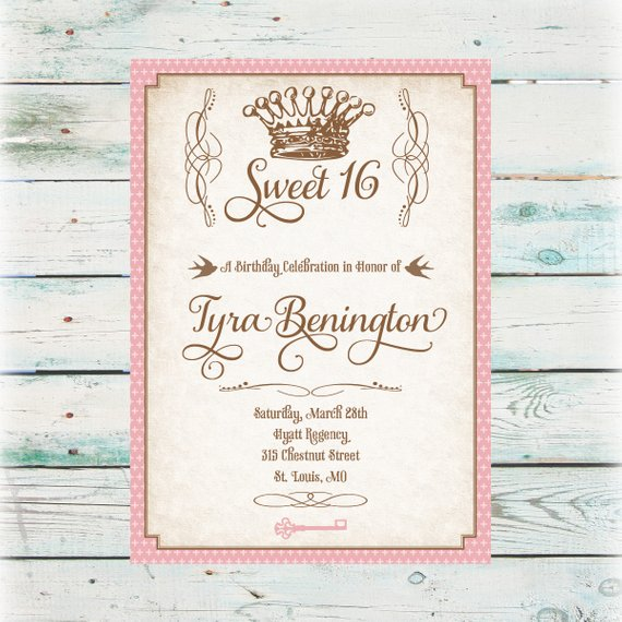 Sweet 16 Princess Party Invitation