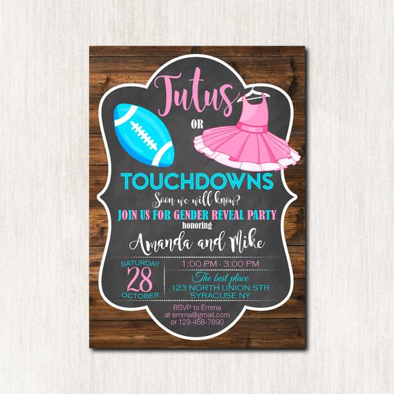 Touchdowns or Tutus Gender Neutral Baby Shower Invitation | CatchMyParty.com