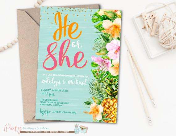 Gender neutral Tropical Baby Shower Invitation | CatchMyParty.com