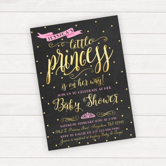 Black pink and gold Baby Shower Princess Party Invitation