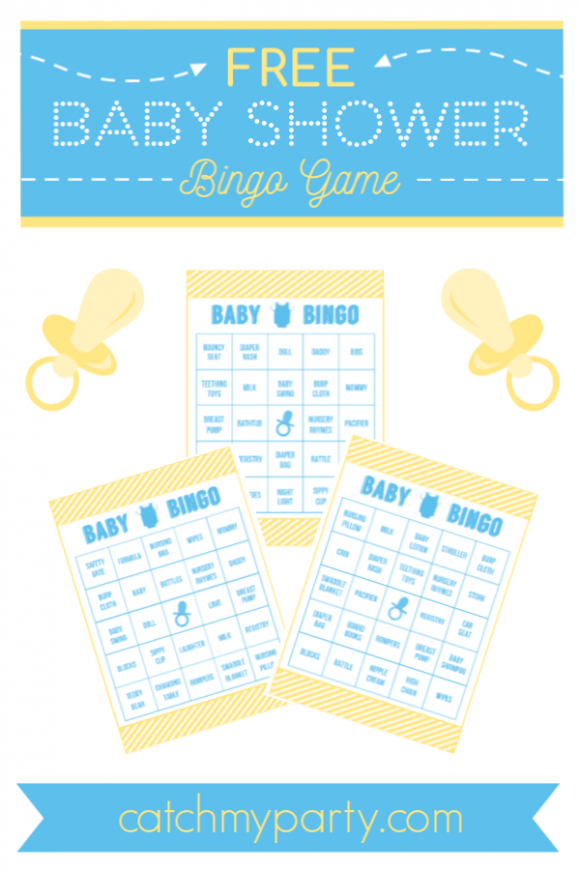 FREE Pink and Yellow Free Printable Baby Shower Bingo for Boys | CatchMyParty.com