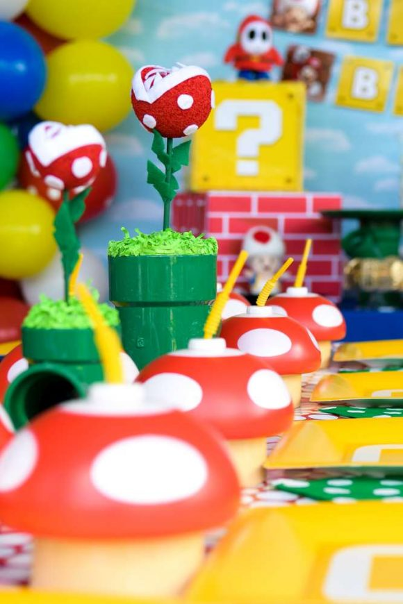 Fun table settings at a Super Mario Bros birthday party