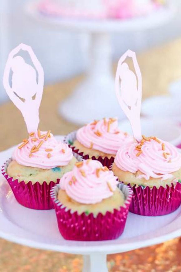 Pink Frosted Ballerina Cupcakes