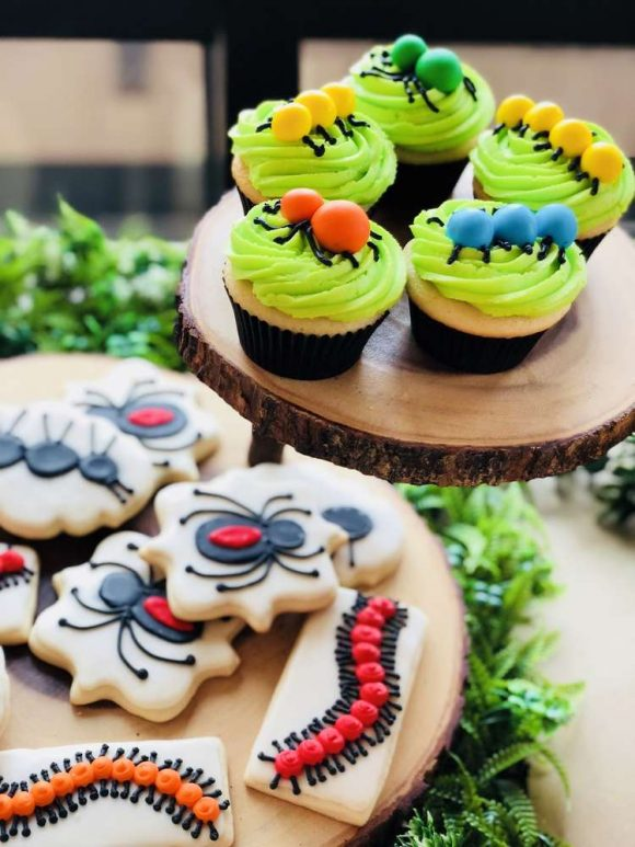 Bug themed cookies and cupcakes