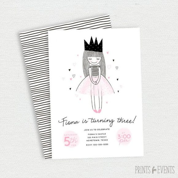 Modern Minimalist Princess Party Invitation