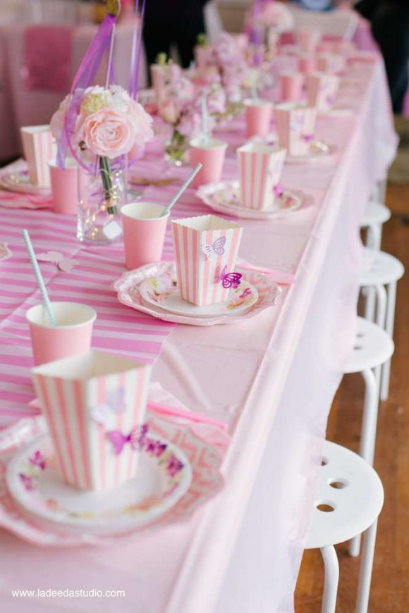 Pretty pink butterlfy party table settings
