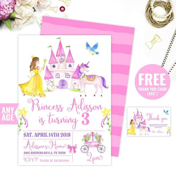 Illustrated Princess Unicorn Party Invitation