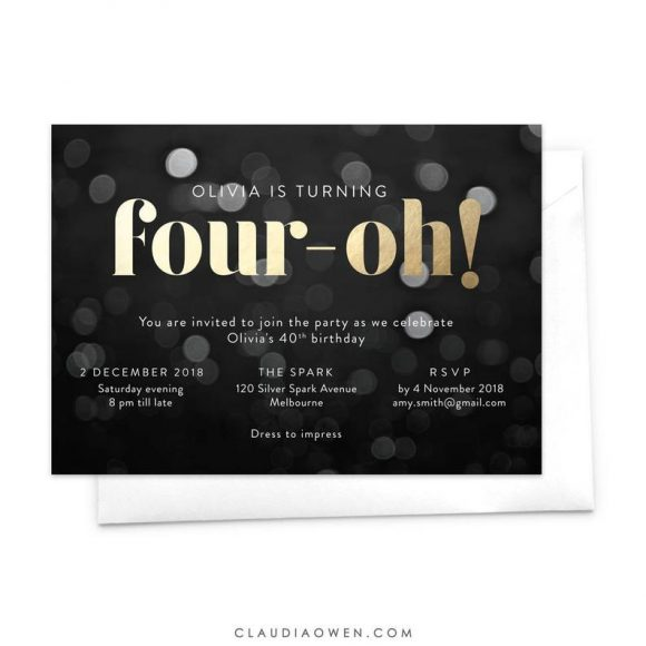Four - Oh Birthday Party Invitation