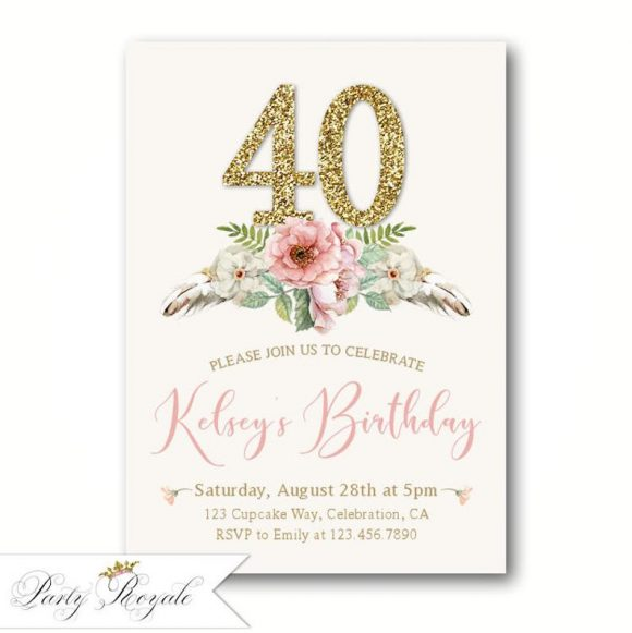 Boho 40th Birthday Party Invitation