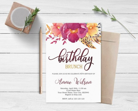 40th Birthday Brunch Party Invitation