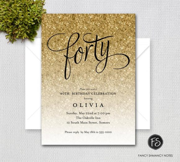 40th Glitter Birthday Party Invitation