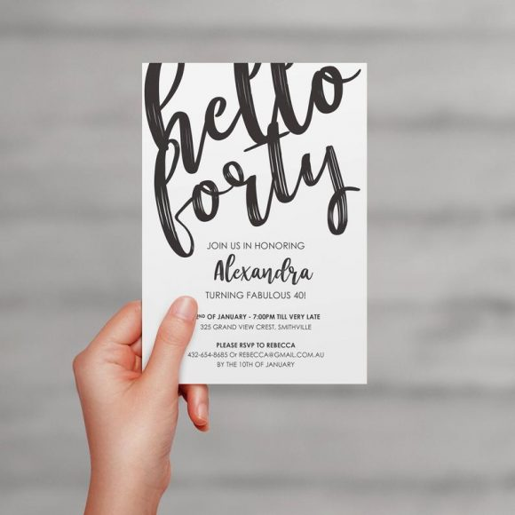 Hello Forty Birthday Party Invitation