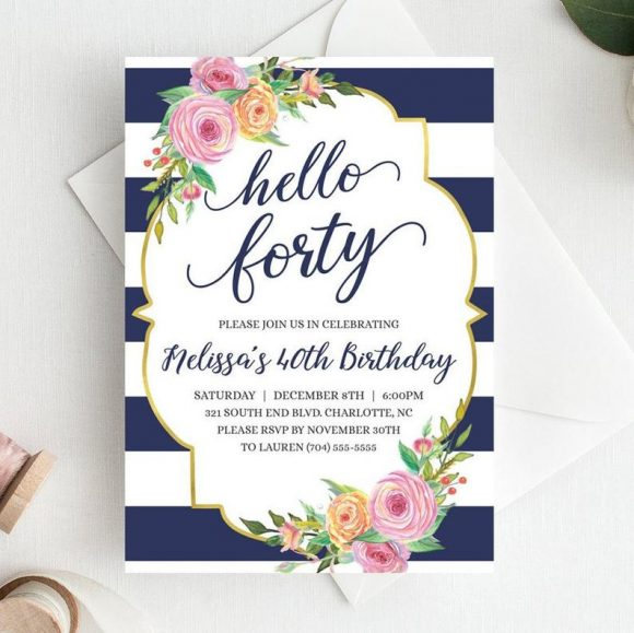 Kate Spade 40th Birthday Party Invitation