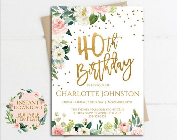 Rustic 40th Birthday Party Invitation