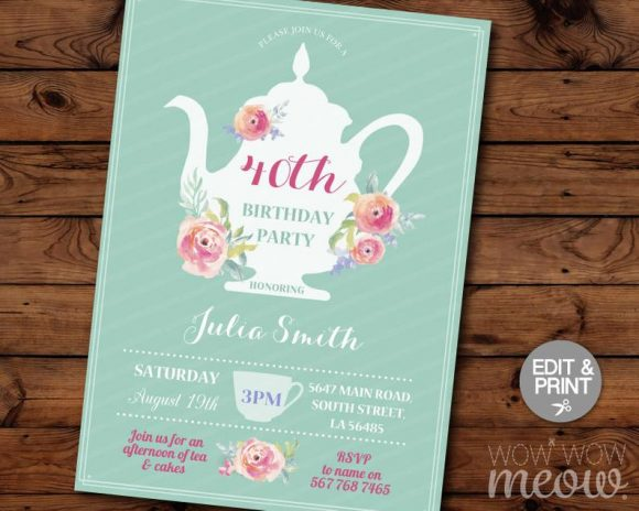 40th Birthday Tea Party Invitation