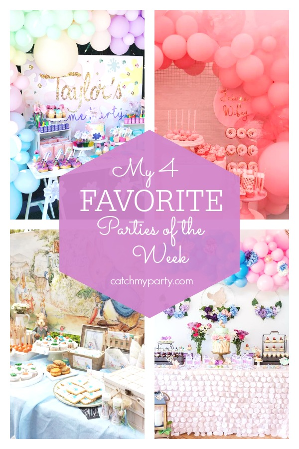 My favorite parties this week include this cool slime party, a fabulous bachelorette party, a cute Peter Rabbit baptism, and a gorgeous floral Bambi birthday party.