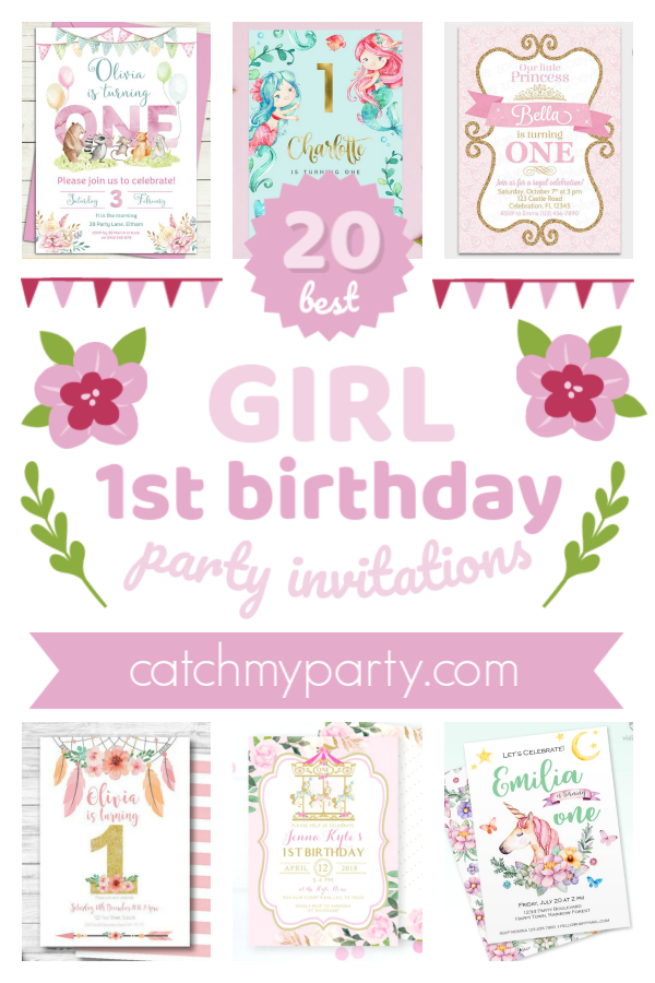 Collage of The Most Beautiful Girl 1st Birthday Party Invitations